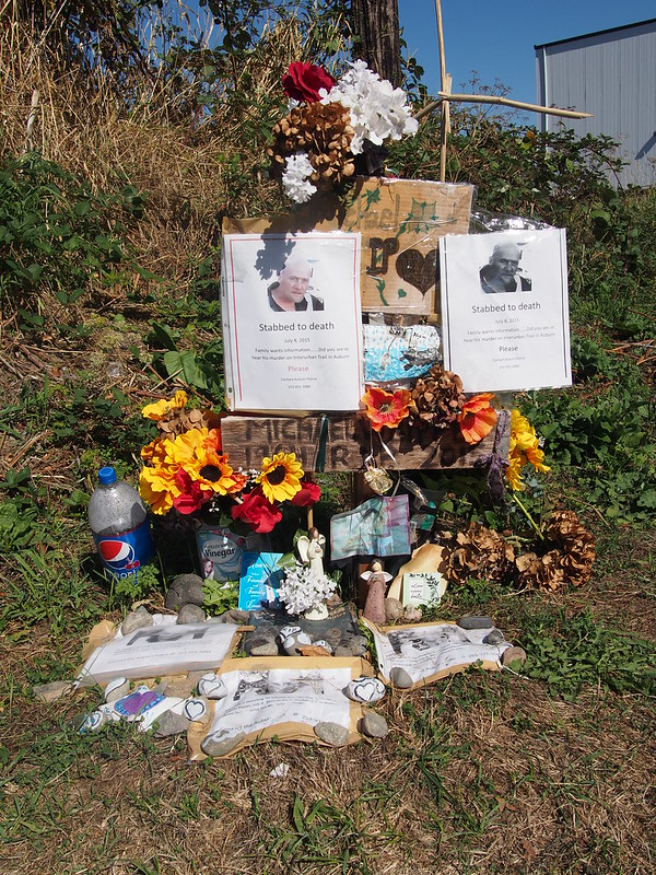 Michael Bippes Memorial: Michael Bippes was stabbed to death on the Interurban Trail in early July.  This is relevant to me as I was unable to use the section where he was stabbed on a ride due to the police investigation.
