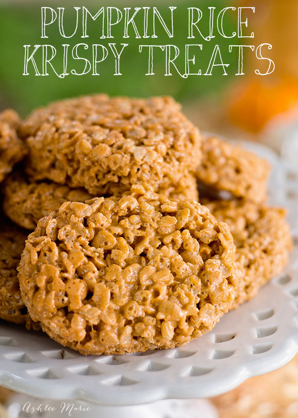 easy to make pumpkin spice rice krispie treats are always a huge hit this time of year, cut out with a shaped cookie cutter and you have a great themed treat