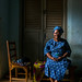 Benin, West Africa, Porto-Novo, old woman in her living room by Eric Lafforgue