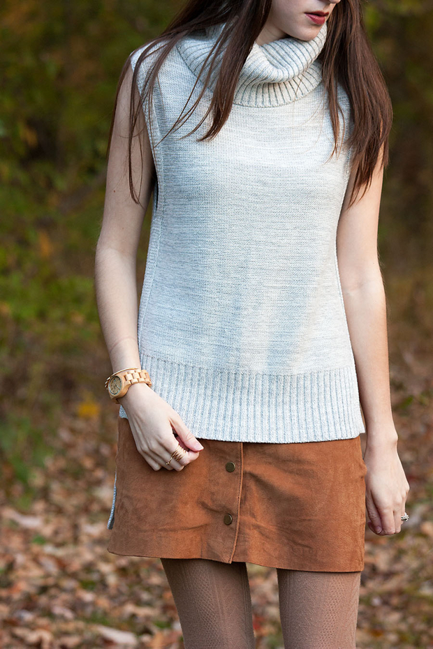 Grey Turtleneck Sleeveless Sweater, Button Front Suede Skirt, Jord Watch