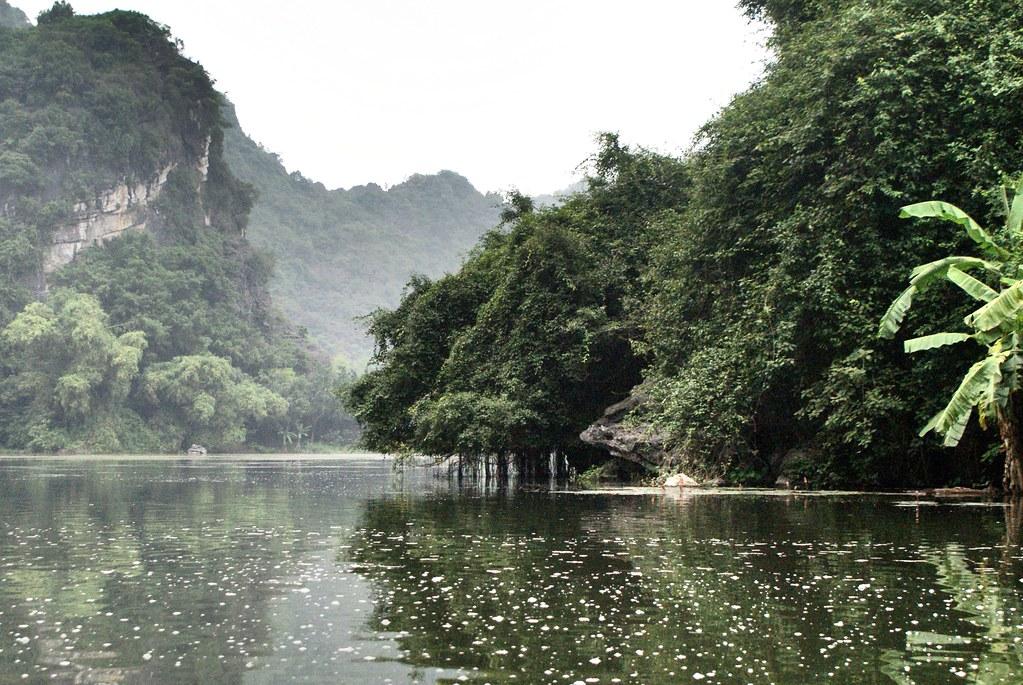 Vallée brumeuse à Trang An près de Ninh Binh au Vietnam