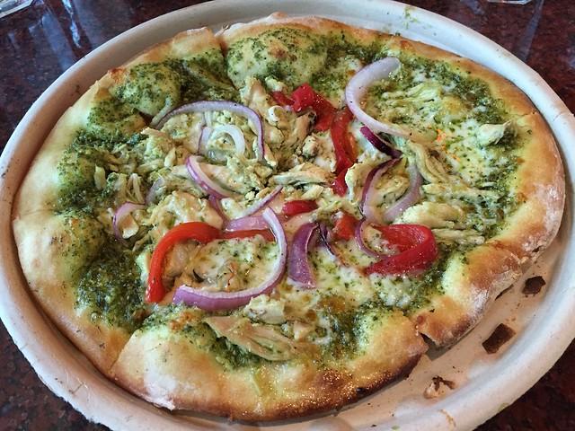 Chicken pesto pizza - Firewood Cafe