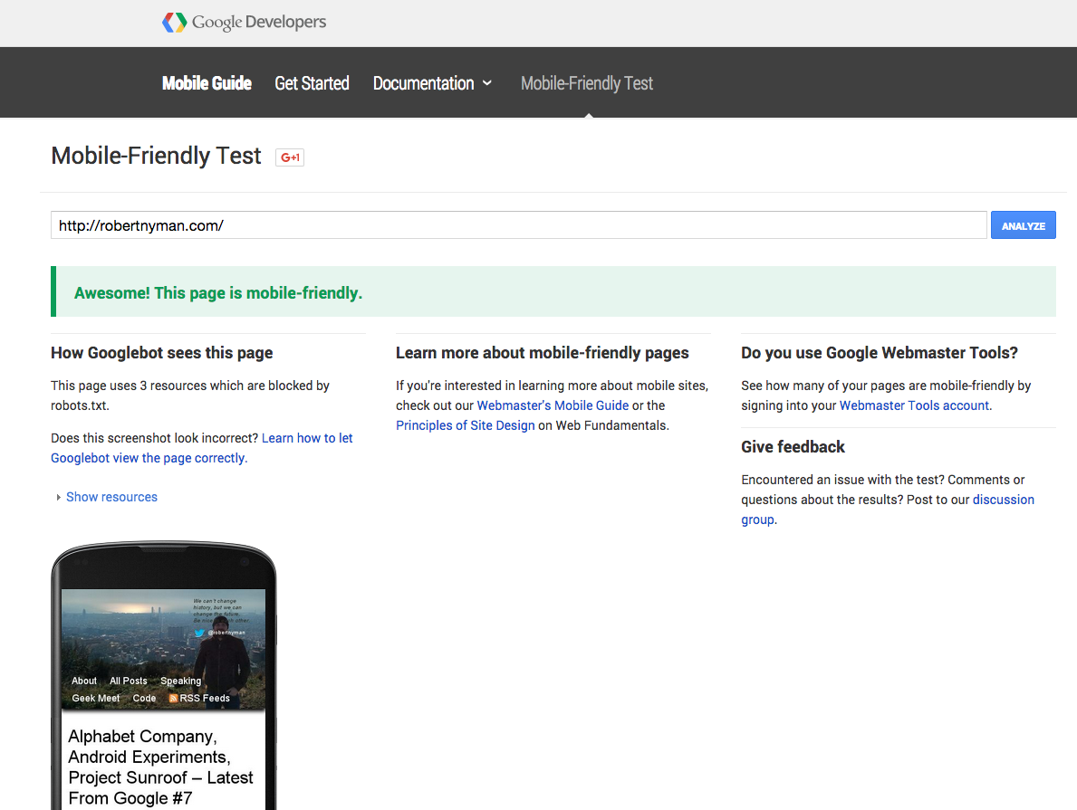 Google mobile-friendly tool