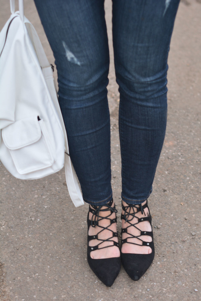 Skinnies, lace-up heels