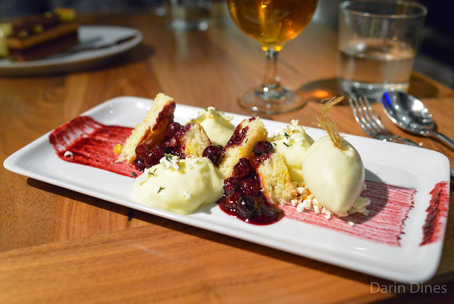Polenta Cake blueberry compote, corn, honey, thyme ice cream