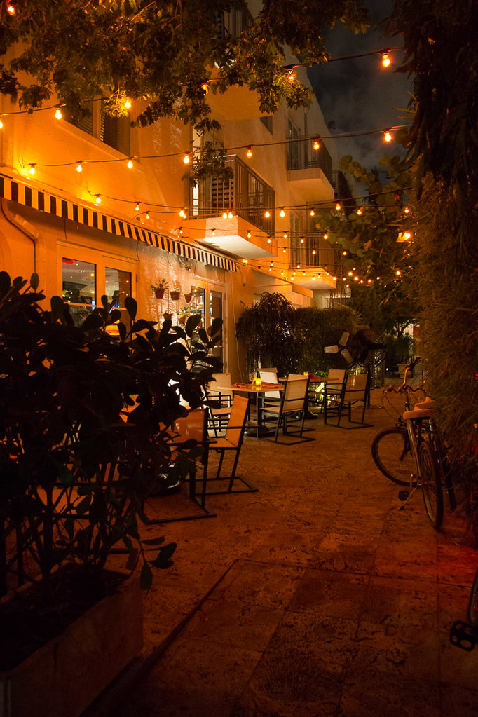 Nighttime view of patio at Angler's