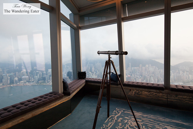 Telescope and the huge windows to check out the 270-degree panoramic views of Hong Kong