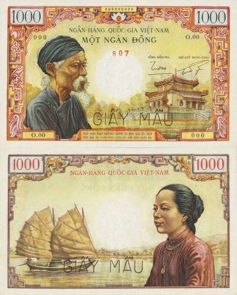 1000 dong Južný Vietnam 1955 P04s SPECIMEN - REPLIKA