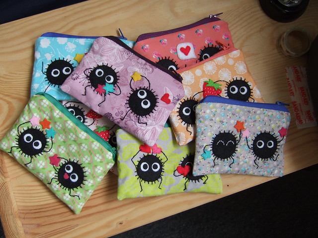 Collection of soot spirited away pouches