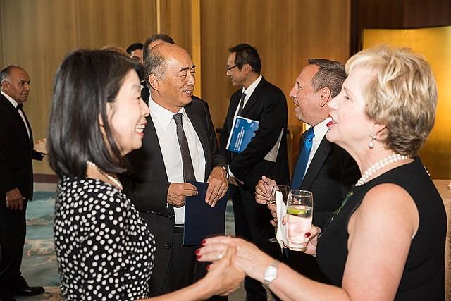 Ambassador Kenichiro Sasae, Nobuko Sasae, Lisa Barry, Tom O'Coin
