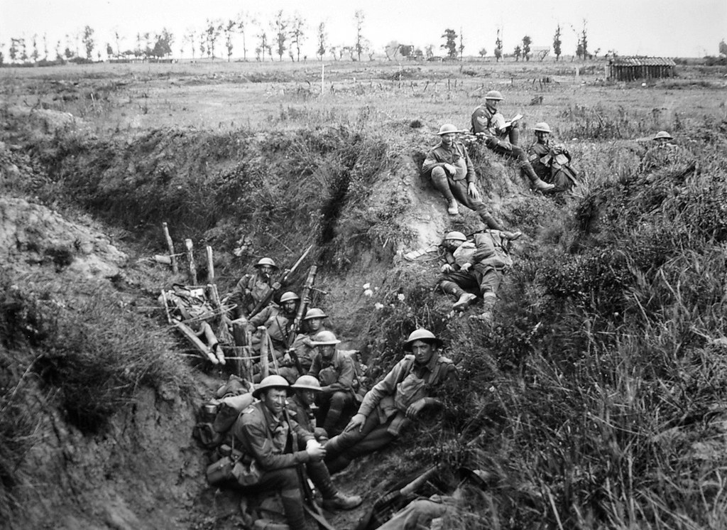 Members of the 6th Battalion in August 1918 near Lihons during the Battle of Amiens.