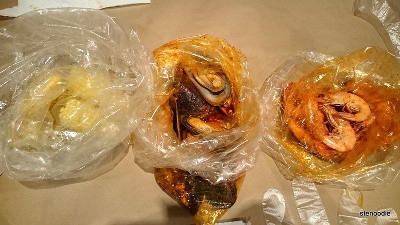 three seafood boil bags