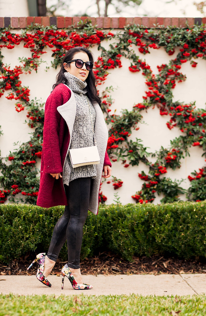 cute & little blog | petite fashion | red burgundy cocoon coat, gray turtleneck, spanx leather leggings, floral pumps, tory burch wallet on chain crossbody | winter outfit