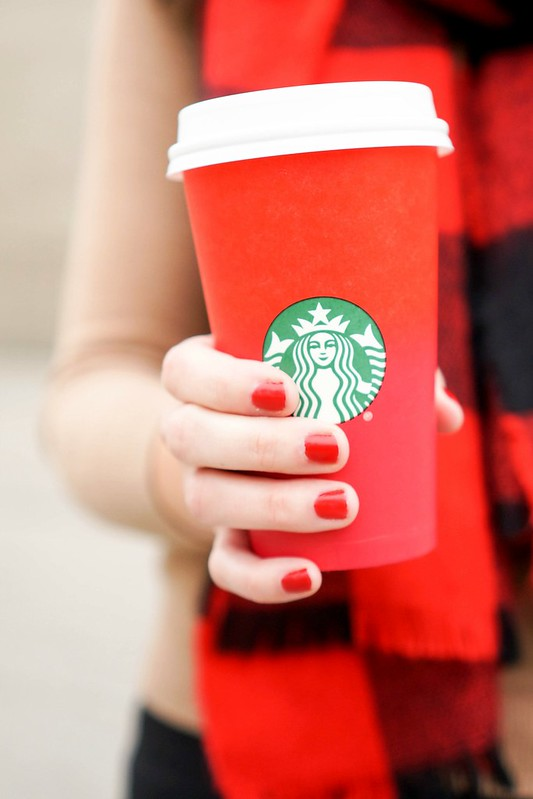 Starbucks red holiday cup; red nails; Holiday Spice latte