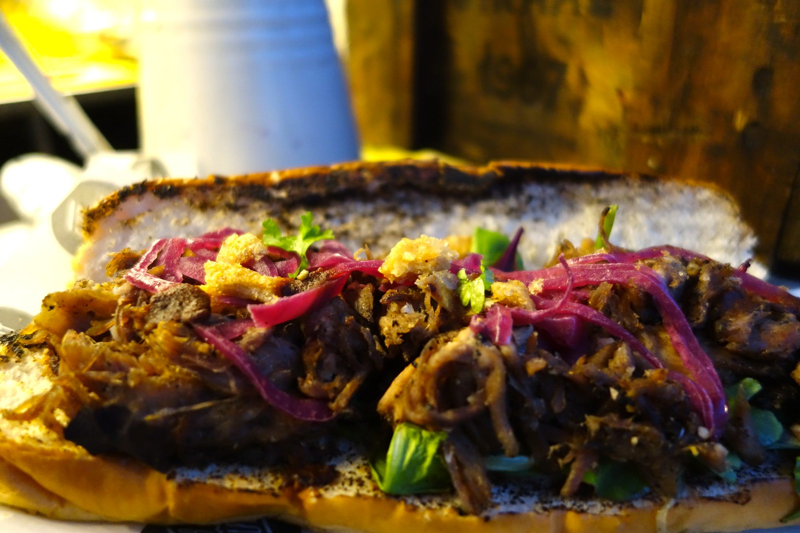 The British Street Food Festival 2015: Sub Cult, Rodeo Sub: Hung Beef, Shallot Marmalade, Truffle Mayonnaise