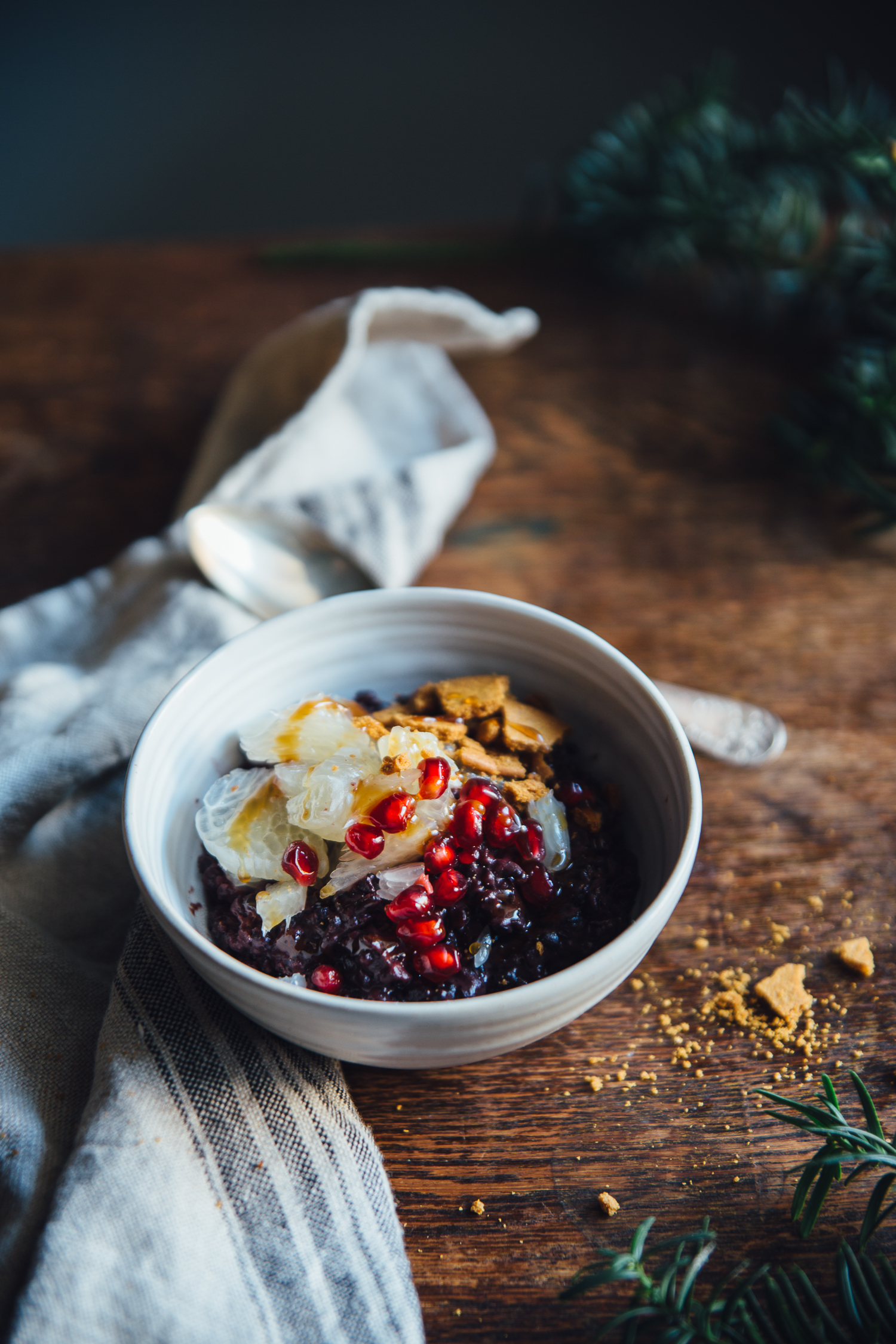 Black Rice Porridge with Pomelo, Ginger Snaps & Ginger Syrup | Cashew Kitchen