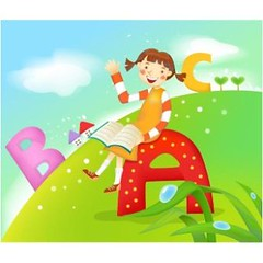 free vector Colorful Alphabets With Small Girl Background