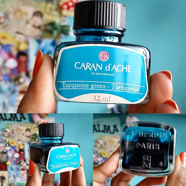 An amazing find! An older bottle of Caran d'ache turkisgrün ink which was manufactured by J. Herbin. #carandache #inkbottle #fpgeeks #fountainpennetwork #fountainpenink #ink #turquoise