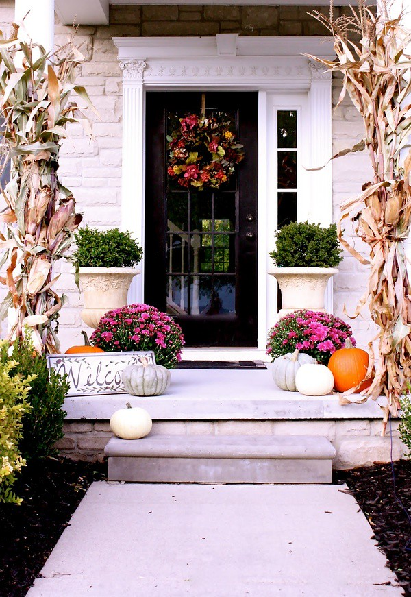 Halloween Decorating Ideas Pumpkins Front Door Fall