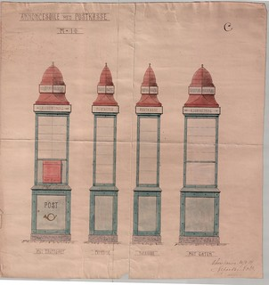 Forslag til Annoncesøyle med Postkasse (1914)