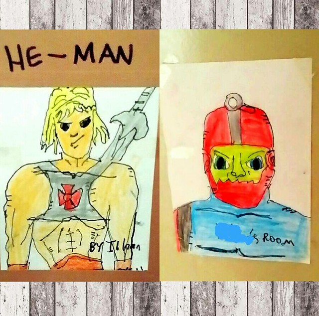 My 7-year old son #ilhanology is head over heels over #mastersoftheuniverse these days. Here are his sketches of #heman and #trapjaw today  #motu #shera #eternia #etheria #castlegrayskull #skeletor #filmation #mattel