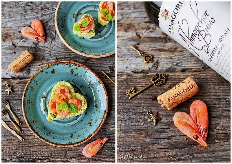 ...shrimp on a bed of eggs, cheese and avocado collage