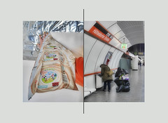 """Adventure Collection-Fun"" / Woman, Trash-Tower. Mounting envelopes of collectible cards as background / Waiting at Metro Station ""Abenteuer Sammel-Spass"" Frau, Müll Turm. Montage Unterlegung Sammelkarten Kuverts / Wartezeit U-Bahn. Analogie Inspiration"