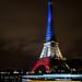 La tour Eiffel illuminée en bleu blanc rouge - Fluctuat nec Mergitur - Liberté, égalité, fraternité by y.caradec