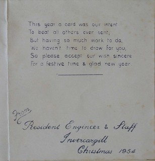 Invercargill Resident Engineer Christmas Card, 1954