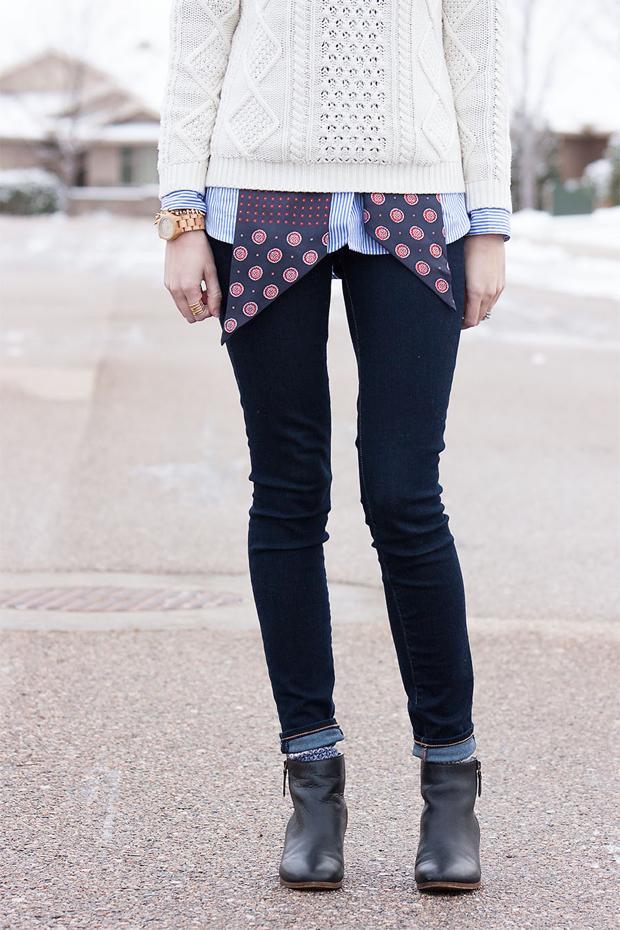 Gap Jeans, Gap Sweater, Mixed Prints, Black Booties