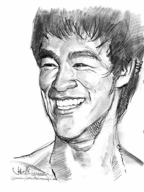 Digital portrait sketch of Bruce Lee with iPad Pro and Apple Pencil in Procreate