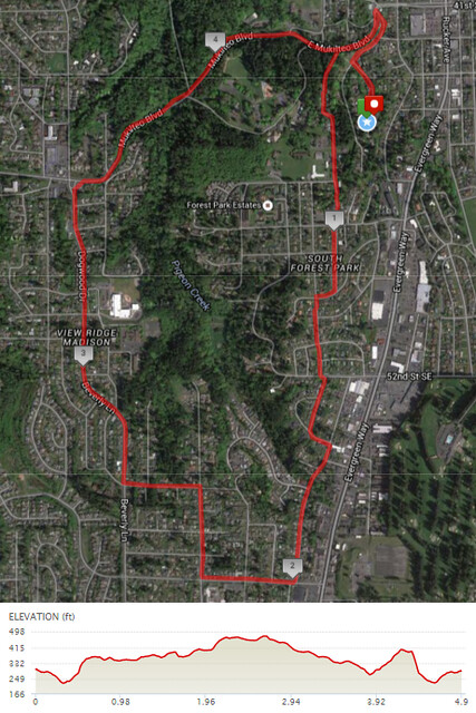 Today's awesome walk, 4.9 miles in 1:28, 10,537 steps, 437ft gain