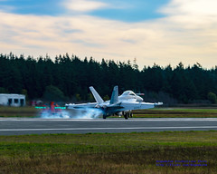 EA-18G Leaving Smoky Touch on OLF