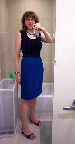 Blue Wool Tweed Pencil Skirt (sewn from Sew Fast, Sew East computer fit pattern)