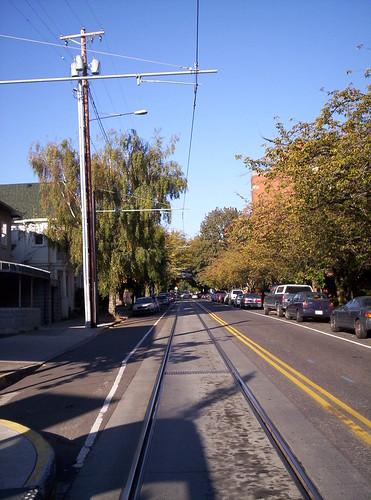 Streetcar track in Nob Hill, Portland