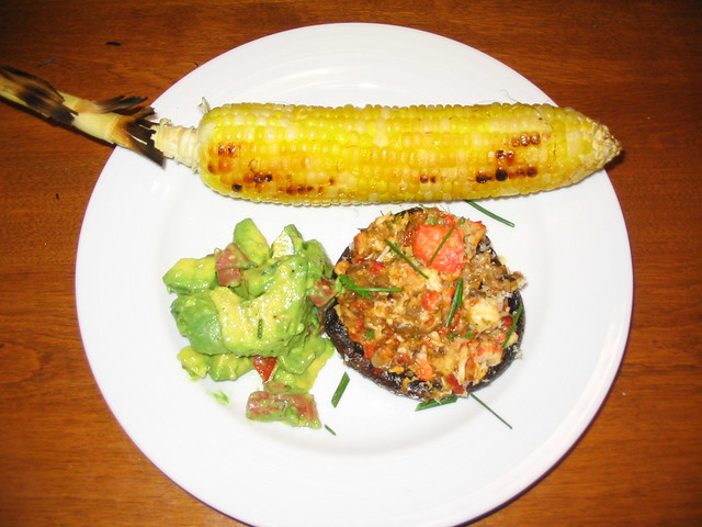 Grilled Crab-Stuffed Portobello Mushroom with Roasted Corn and Avocado ...