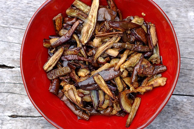 Pomegranate roasted Japanese eggplant by Eve Fox, the Garden of Eating, copyright 2015