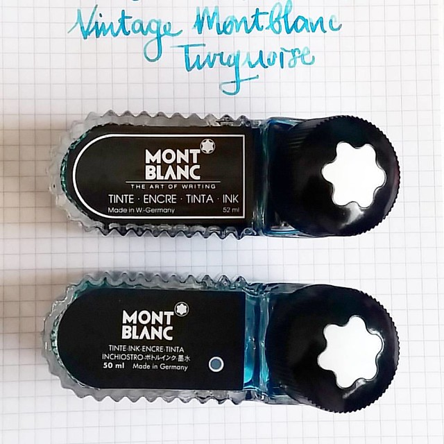 Comparing two older montblanc ink bottles. Back in the day before the wall fell, they squished 2ml more ink in their bottles...