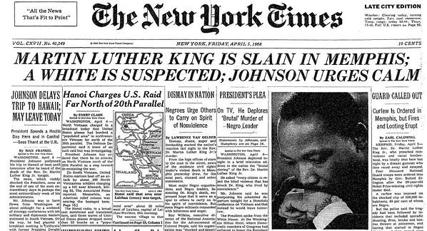 "Cover of ""The New York Times"" newspaper the day after Martin Luther King was assassinated"