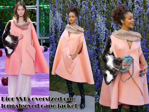 Dior-SS15-oversized-one-long-sleeved-cape-jacket, oversized one sleeved cape jacket, oversized one sleeved cape jacket trend, Dior Fall 2015 couture oversized one sleeved cape jacket, cape jacket, pink cape jacket, pink cape one sleeve jacket, Oversized one sleeved cape jacket, cape trend, oversize cape jacket, pink cape, pink cape jacket, Christian Dior Spring/Summer 2016, Christian Dior Spring/Summer 2016 catwalk show, Dior SS15 oversized one long sleeved cape jacket, statement coat, statement cape jacket, PVC over the thigh boots, racy black PVC boots