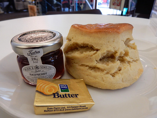 Scone and jam at the Quaker Cafe, Euston, London NW1
