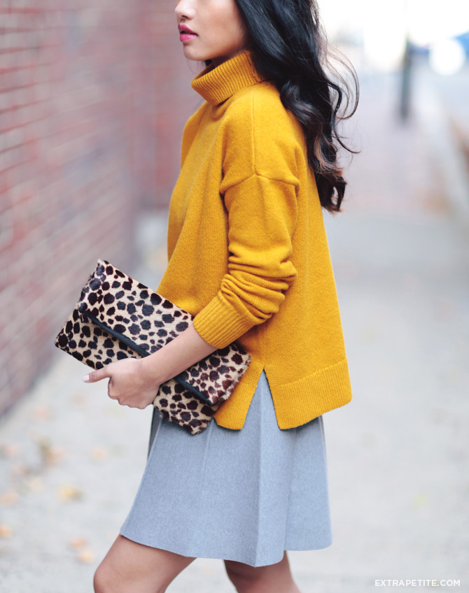 mustard sweater grey skirt outfit