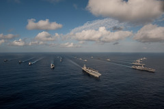 The Ronald Reagan Carrier Strike Group steams in formation with Japan Maritime Self-Defense Force ships during Annual Exercise. (U.S. Navy/MC3 Nathan Burke)