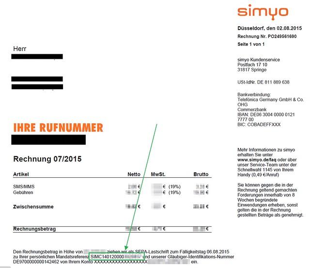 Simyo Kundennummer finden, die letzten 7 Ziffern der Mandatsreferenz