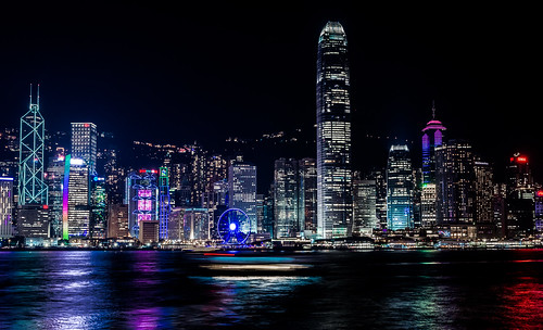 hongkong asia kowloon night longexposure ocean city chinese nikon7100 boats water buildings central landscape view panorama
