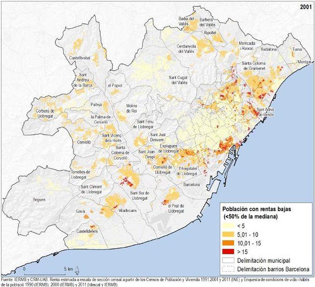 Població amb rendes baixes segons secció censal. Àrea metropolitana de Barcelona, 2001