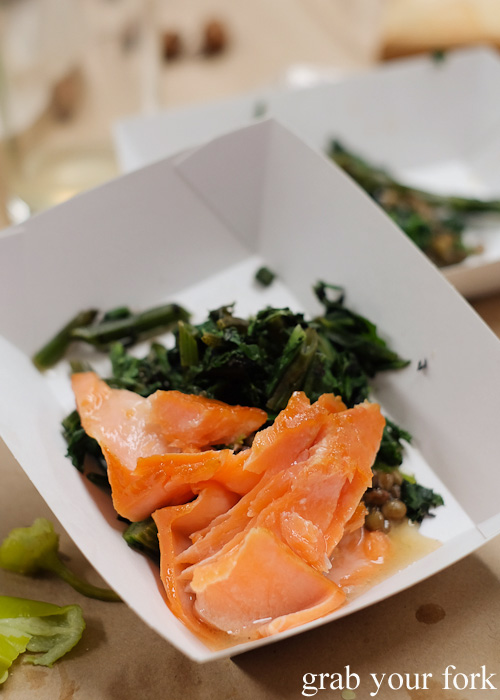 Flakes of wild brown trout at the Feral Party by Pinbone at Young Henrys for Good Food Month 2015