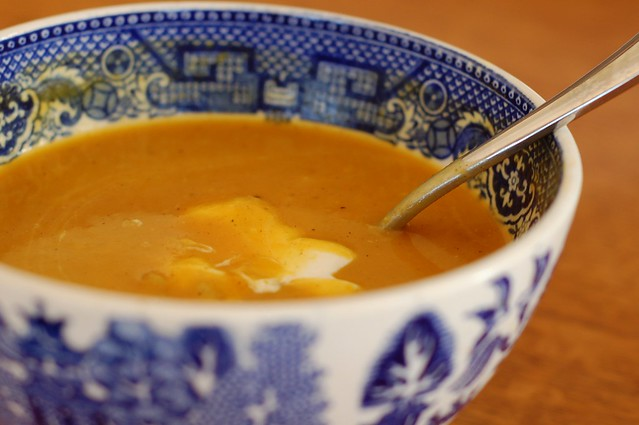 Curried winter squash soup by Eve Fox, the Garden of Eating, copyright 2013