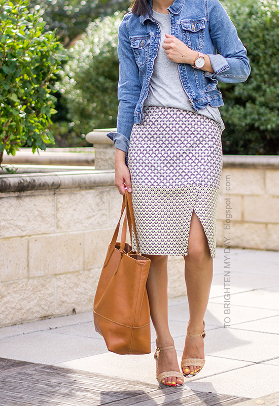 denim jacket, gray tee, patterned brocade wrap skirt, raffia heels, cognac brown tote, oversized watch