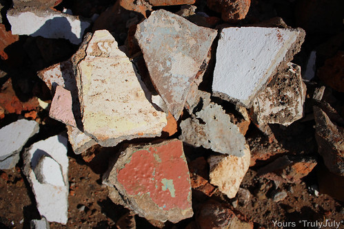A variety of colours: Different pieces of walls that have been demolished around the house.
